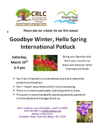 March Potluck flyer